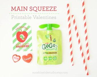 Printable Valentine's Day Kids Classroom CUSTOM Applesauce Valentine Labels Non Candy Valentine