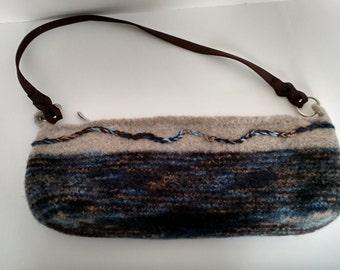 Blue and brown variegated felt shoulder bag