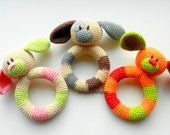 Baby toy Rattle Teething baby toy Grasping Teething Crochet Toys Dog Stuffed toys gift Baby shower gift