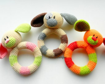 SALE Baby toy Rattle Teething baby toy Grasping Teething Crochet Toys Dog Stuffed toys Baby shower gift Christmas baby gift