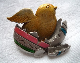 Vintage Signed JJ Silver pewter Easter Chick in Egg Shell Brooch/Pin