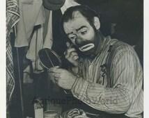 Clown Emmett Kelly w make up antique circus photo