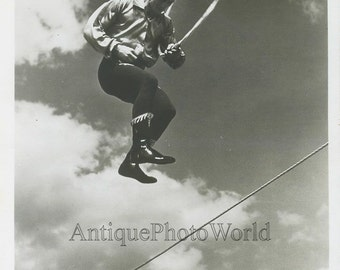 Hubert Castle circus acrobat on wire antique photo