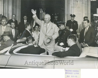 Nikita Khruschev waving from car vintage photo