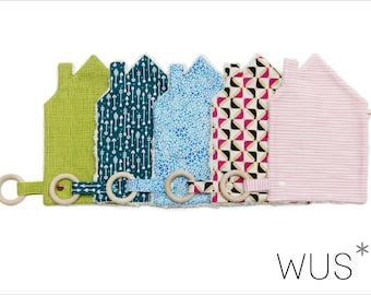 """Organic baby blankets """"House"""" with pacifier holder and teether - pattern of your choice"""