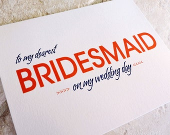 To My Bridemaid Cards On My Wedding Day Modern Vintage Thank You