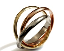 Tri color trinity ring, Intertwined rolling ring, Three 3mm wide Half Round Bands, 14k wedding band, solid gold bands,  Russian Wedding Band
