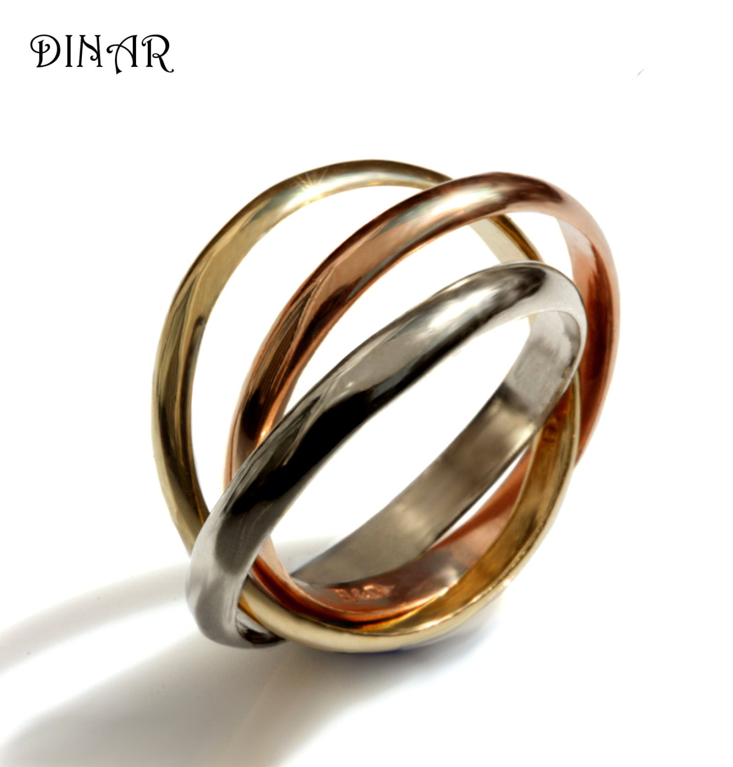 Tri Color Trinity Ring Intertwined Rolling Three 3mm