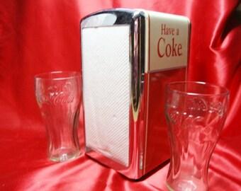 Coca Cola Glasses and Coca Cola Napkin Holder