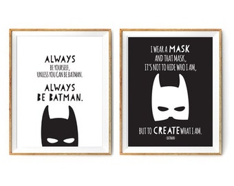 Batman Print Set for a Little Boy's Nursery/Bedroom - Always Be Batman - Set of Prints 5% Discount - Instant Download Wall Art