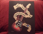 "Art of Fender Guitar / Stevie Ray Vaughn's Guitar is a Limited Edition  10""x13"" Print of Original Art by artist Charles Freeman"