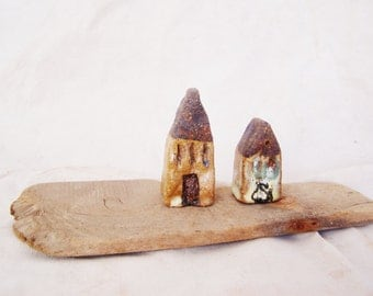 Rustic ceramic cottages, set of two high fire, stoneware clay, house miniatures, brown rustic decor houses, Greek pottery miniature houses