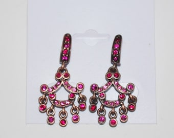 Joan Rivers Pierced Earrings - Pink Stones -          S1120