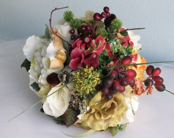 Autumn Wedding Bridal Bouquet Silk Flowers  Wedding Accessory Fall Bridal Bouquet