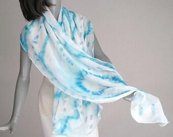 Hand Painted Shawl, Turquoise White Wrap, Aqua Lucite Silk Shawl, Aquamarine Wrap, Light Blue Wrap, Artisan Handmade, Hand Dyed, Jossiani