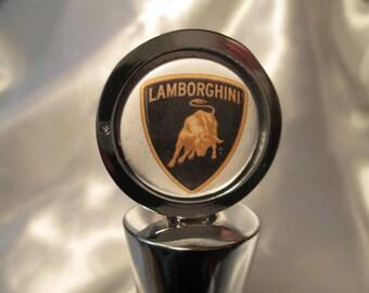 LAMBROGHINI  - Chrome Wine Stopper with Satin Gift Bag