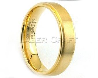 Titanium Wedding Band,Titanium Wedding Ring,Gold Titanium,Dome,Comfort Fit,Anniversary Ring,Engagement Ring,6mm,Titanium Gold, Gold Ring