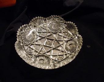 Cut Glass Bowl Brilliant Cut Sultana Pattern 8 inch Bowl Sawtooth Edge