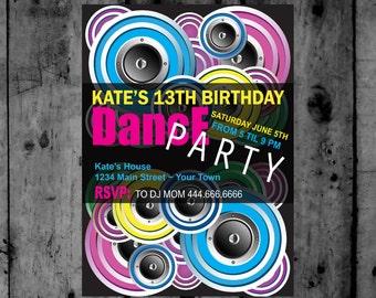 Disco Ball- Just Dance - Disco- Dance Party- TWeen- Diva Birthday Printable Invitation