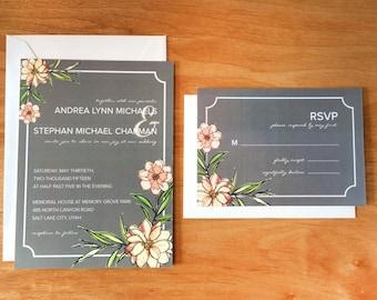 Grey & Peach Floral Wedding Invitations