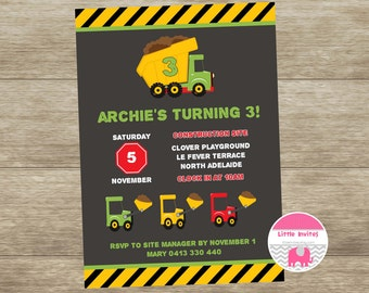 Construction Boys Birthday Invitation/DIY printable birthday invite/Construction Invitation/Dump Truck Invitation/Boys Birthday-Archie