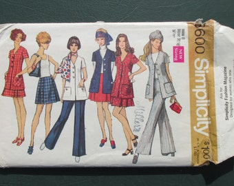 Simplicity 8600 - Pant Suit - Sewing Supply - Pattern Patter - Womens Sewing - Mod Style - Sewing Needlecraft - Misses Size 8