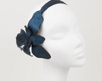 Glitter Flower Headpiece in Dark Blue Cyan