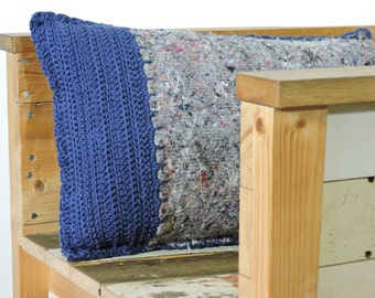 Sale crocheted throw pillow, made from repurposed blanket with navy blue cotton