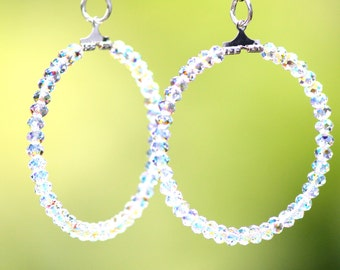 Swarovski Cystal AB Hoop Earrings