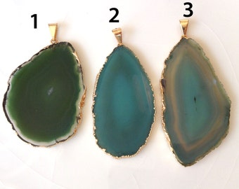 Gold Plated Agate Pendant, Greenl Agate Slice, Agate Pendant, F