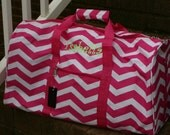 Monogrammed Chevron Duffel Bag Pink Cheer Gift