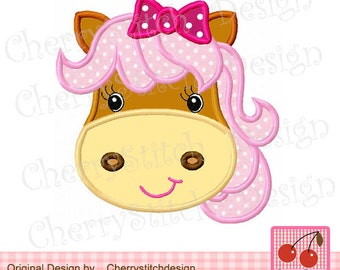 Horse Farm Animal Machine Embroidery Applique Design for girls -4x4 5x5 6x6""