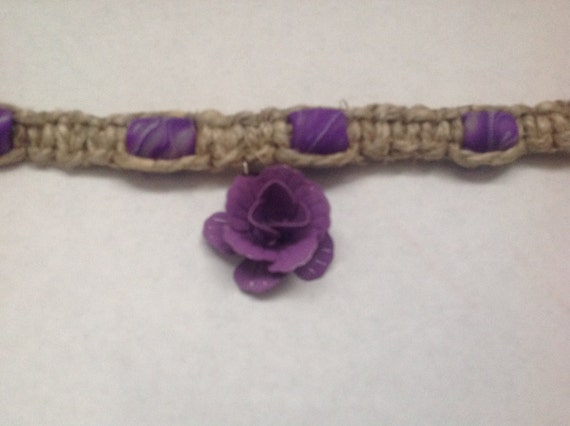Purple Rose Hemp Necklace