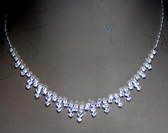 Austrian Crystal Rhinestone Choker Necklace Earring Set Dainty Bridal Prom