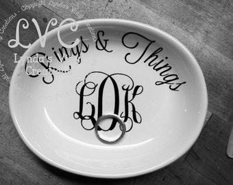 Rings & Things Monogrammed Dish