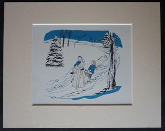 Vintage 1950s Illustration of Alpine Folk Walking Through the Snow Artwork from a first edition of Johanna Spyri's Childrens Christmas Carol