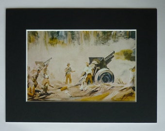1940s Antique Military Print of US Soldiers in the Jungle, Available Framed, Tropical Art, Dwight Shelper, WWII Cannon Wall Art WW2 Picture