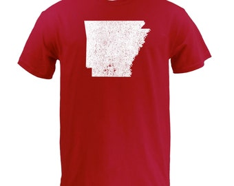 Distressed Arkansas State Shape - Cardinal