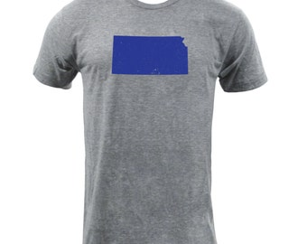 Distressed Kansas State Shape - Athletic Grey