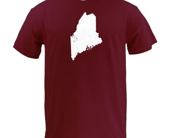 Distressed Maine State Shape - Maroon