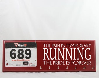 Gifts for Runners - Running Medals and bibs display - The pain is temporary running the pride is forever