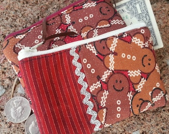 Gingerbread Coin Purse, Christmas Zipper Wallet