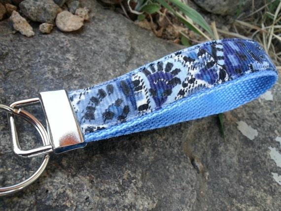 Blue Corduroy Keychain Wristlet