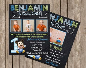 Chalkboard Baby Mickey Mouse 1st Birthday Invitation OR Thank you card Digital File