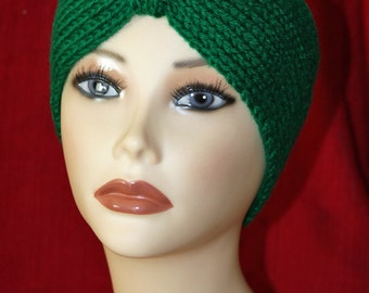 "Super Soft Earwarmer Headwarmer Headband Handmade Knitted Green Winter Wear Turban Style Fits Head Size Up To 22-23"""