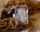 Real feather ring, White dove feather glass ring, minimalist ring, nature ring