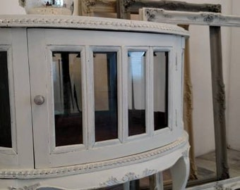 Refinished vintage French provincial curio display cabinet