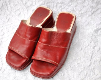 Red Leather COACH Wedge Sandals | Retro Resort Wedge Slides. Mod Pin Up Platform Sandals. Open Toe Leather Sandals. Retro 80s Mules | sz 6.5