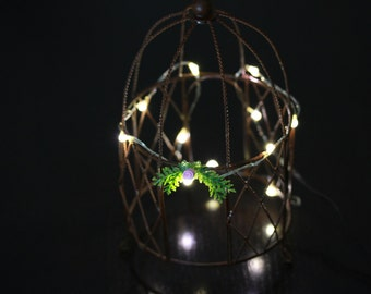 Fairy Lights 12 LED warm white miniature - 4.5 feet long 12 lights battery operated for terrarium - dollhouse - accessories