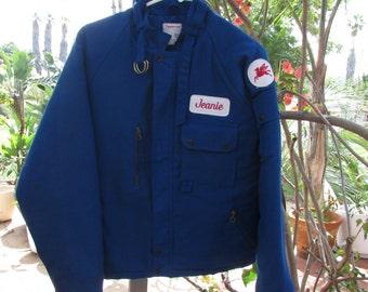 Service Attendant Jacket Mobile Oil Jeanie Workrite Uniform Co. USA Size M Rockabilly Retro